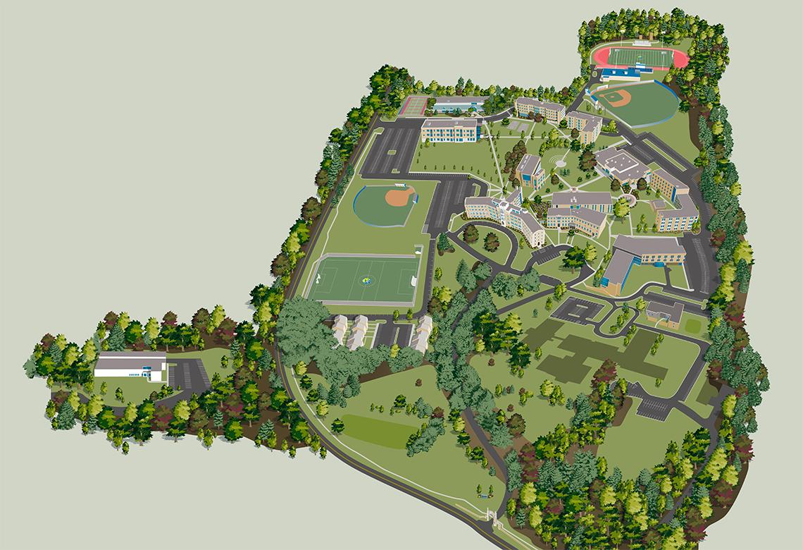 Misericordia University campus map rendering