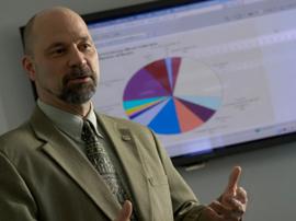 Professor teaching a class in the MBA program.