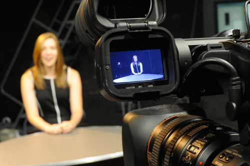 Communications students filming a show