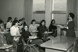 Sister Marie Turnbach teaching social work class, circa 1970s