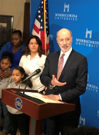 Governor Tom Wolf holding a press conference at Misericordia University
