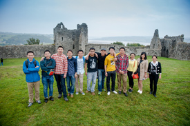 Students pose in Welsh countryside. Image provided by University of Wales, Trinity St. David