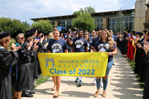 The Class of 2022 processes in front of faculty and staff to the annual convocation ceremony.