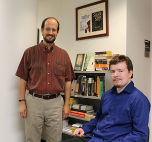 Alex Skopic of Springville, Pa., poses with his English professor, Patrick Hamilton, Ph.D., chair of the Department of English.