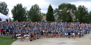 The Class of 2023 prepares for the start of the convocation ceremony in the Wells Fargo Amphitheater.